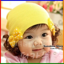 Toddler beanie with wig baby hat bows 2015 spring girl's caps Skull infant Bonnet child Headdress #2C2625 10 pcs/lot(5 colors)