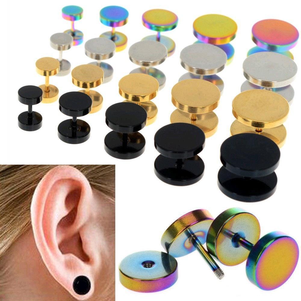 1pair Fashion Men Women Ear Plugs Fake Tunnel Stud Earrings 316l Stainless  Steel Piercing Body Pircing