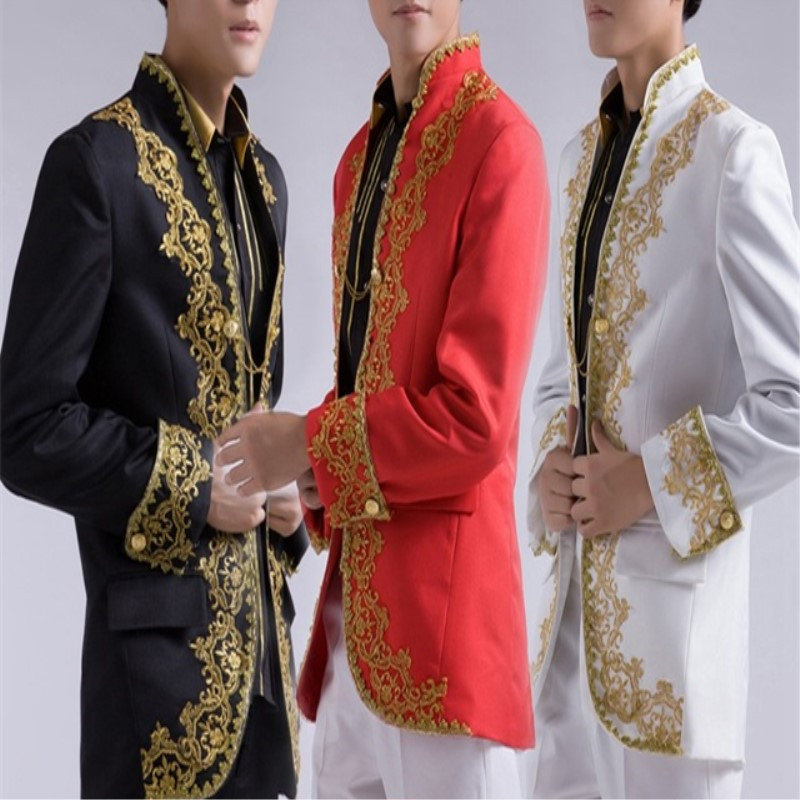 Classic Chinese Style Wedding Men Suit With Gold Embroidery Applique 2 Pieces(Jacket+Pants+Tie) Terno Masculino Custom Blazer