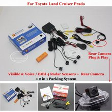 For Toyota Land Cruiser Prado - Car Parking Sensors + Rear View Camera = 2 in 1 Visual / BIBI Alarm Parking System