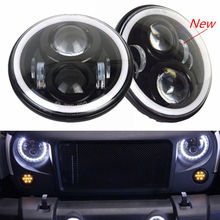 7 Inch LED Headlights Automobiles 60W DOT DRL Angel Eye H4 LED Car Speed Projector Driving Headlamp For Jeep Land Rover Defender(China)