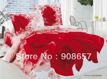 new 400TC 4pc duvet covers cotton red rose flower printed luxurious queen full bedding set cheaper home textile girls bed linens