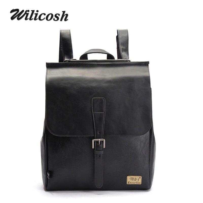 Wilicosh Brand Men Backpacks Vintage PU Leather Backpack  Preppy  Men School Bags Rucksack Bags Mochila  Luxury Backpacks WL100<br><br>Aliexpress