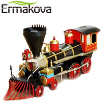 "ERMAKOVA 44cm(17.3"")Retro Train Engine Steam Figurine Vintage Classic Locomotive Model Decorative Train Man Gift Home Decor"