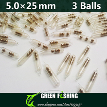 50pcs 5mm 3 balls Jig Fishing Lure Glass Rattles Insert Tube Rattles Shake Attract Fly Tie Tying Fishing rattle(China)