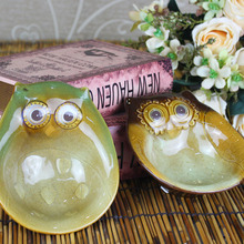 hot new cute owl 2pcs/lot home decorative luxury ashtrays fancy standing ceramic soap box rural art crafts cigar holder ashtray(China)