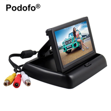 Podofo 4.3 inch HD Foldable Car Rear View Monitor Reversing Color LCD TFT Display for Truck Vehicle Backup Rearview Camera(China)