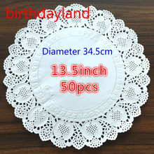 50PCS 13.5inch(diameter 34.5cm) White Round Vintage Paper Doily Lace Paper Doilies Placemat Wedding tableware decorations(China)