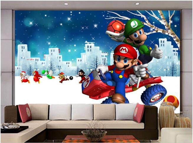 Custom wallpaper children, Mario brothers murals for childrens room  TV wall vinyl  wallpaper paper de parede<br>