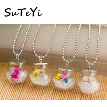 SUTEYI best seller Pendant Necklace Dried flowers Glass Bottle Necklace Chain Ball Rhinestone Silver Tone statement necklace(China)