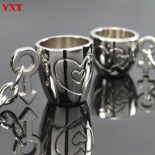 2PCS Personality Cups Heart Arrow Metal Couples Lover New Fashion Charm Key Ring Chain Keyfob Creative Birthday Valentine's Gift