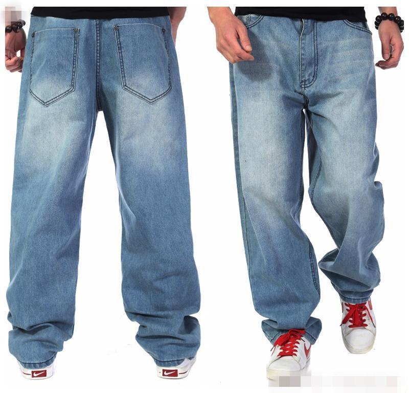 Plus Size Men Fashion Wear Hip Hop Designer Loose Baggy Jeans Long Pants Mens Blue Cotton Straight Denim Trousers 38 40 42 44 46Одежда и ак�е��уары<br><br><br>Aliexpress