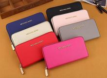 mk 0022#New Wallet Women's Fashion Candy Colors Panel With Wallet Design Ladies High-Bolt Korean Wallet With Zipper Card Wallet(China)