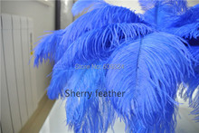 100pcs 14-16inch royal blue Ostrich Feather Plumes for wedding centerpiece costume decor party decor table feather centerpiece(China)