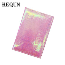 Russia Iridescence Leather Passport Cover Women Fashion Colourful Travel Passport Case Unisex Solid Go Abroad Passport Organizer(China)