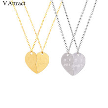 V Attract 10pcs Friendship Jewelry Sculpture Beat Friend Pendant Necklace Set Stainless Steel Heart Choker For Sister BFF Gift(China)