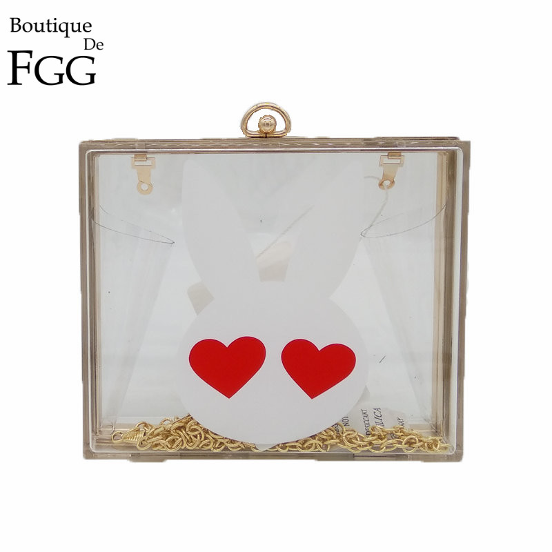 Love Eyes White Rabbit Transparent Acrylic Evening Bag Clutches Bags For Women Wedding Party Metal Box Clutch Chain Shoulder Bag<br><br>Aliexpress
