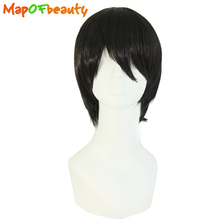 "MapofBeauty men short wig 10"" black straight hair Heat Resistant Male Synthetic wigs High Temperature Fiber Free shipping(China)"
