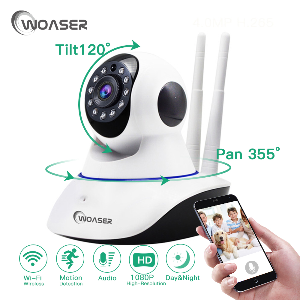 WOASER 2.0MP Wireless Wifi IP Camera  Two-way Voice Intercom Use Indoor YOOSEE APP Support Micro sd card 64GB Security Camera<br>