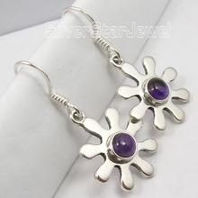 Silver Amethysts Lovely FLOWER Dangle Earrings 3.4CM(China)