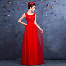 real photo red bridesmaids dresses long tulle bridemaides red dress for formal brides maid ball gown for wedding S3319
