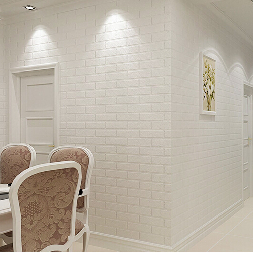 Wholesale papel de parede 3d brick white wallpaper roll 3d wall paper for living room background stone 3D wallpaper<br>