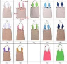 10 pcs /lot New Unique Design Burlap Easter Tote Jute Easter Bunny bag With Bunny Ears Easter Baskets(China)
