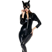 Buy Sexy Latex Catsuit Catwoman Faux Leather Cat Costume PVC Leotard Bodysuit Mask Vinyl Latex Catsuit Lingerie Clubwear Teddy