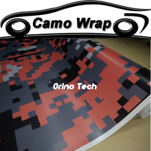 Pixels Camouflage Vinyl Wrap Digital Orange Black Camouflage Sticker Film Car Motorcycle Wrapping Foil Matte/Glossy Finished