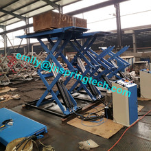 high-quality on ground full rise super-thin scissor lift with mechanical self-lock & pneumatic release with FREE spare parts