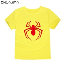 CHUNJIAN new fashion spiderman cartoon logo t-shirt kids  boys clothes short sleeve cotton summer tops baby wears for 2-14 y