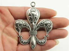WYSIWYG 1pc 74*58mm 2 Colors Antique Silver, Antique Bronze Big Fleur De Lis Charms(China)