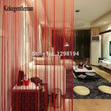 Kekegentleman solid color string curtain 200*100cm/300*300cm door window curtains valance room divider wedding home decoration(China)