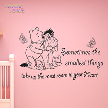 WINNIE THE POOH WALL STICKERS DOG BUTTERFLY VINYL WALL ART QUOTE STICKER - GIRL BOY KIDS NURSERY LOVE DECAL HOME DECOR(China)