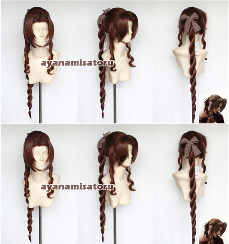 High Quality Final Fantasy FF7 Aerith Gainsborough Cosplay Wig Anime Wigs Heat Resistance Fibre Synthetic Hair + Free Wig Cap<br><br>Aliexpress