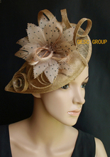 2017 NEW Coffee brown Sinamay fascinator hat w/ polka dot feather flower for Kentucky derby wedding.FREE SHIPPING