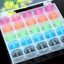 25 Grid Clear Storage Case Box With 25Pcs Empty Colorful Sewing Box Bobbins Spool for Brother Janome Singer Elna Sewing Machine(China)