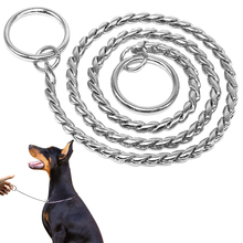 Dog Training Collars Snake P Choke Metal Slip Chain For Dogs Size XS S M Large XL Dogs