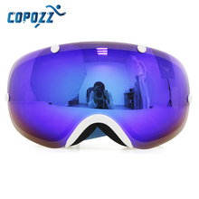 Kids Ski Goggles COPOZZ Children Snow Glasses with Detachable Wide Vision Double Anti-fog Spherical Lens UV400 Protection Glass