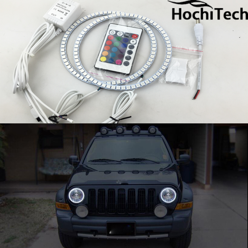 for Jeep Liberty KJ 2000 2001 - 2007 LED perimeter headlight rings halo Multi-color RGB angel demon eyes<br>