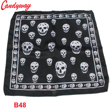 Silk scarf headband small facecloth square in 50cm black skull scarf bandanas handkerchief neckerchief muffler
