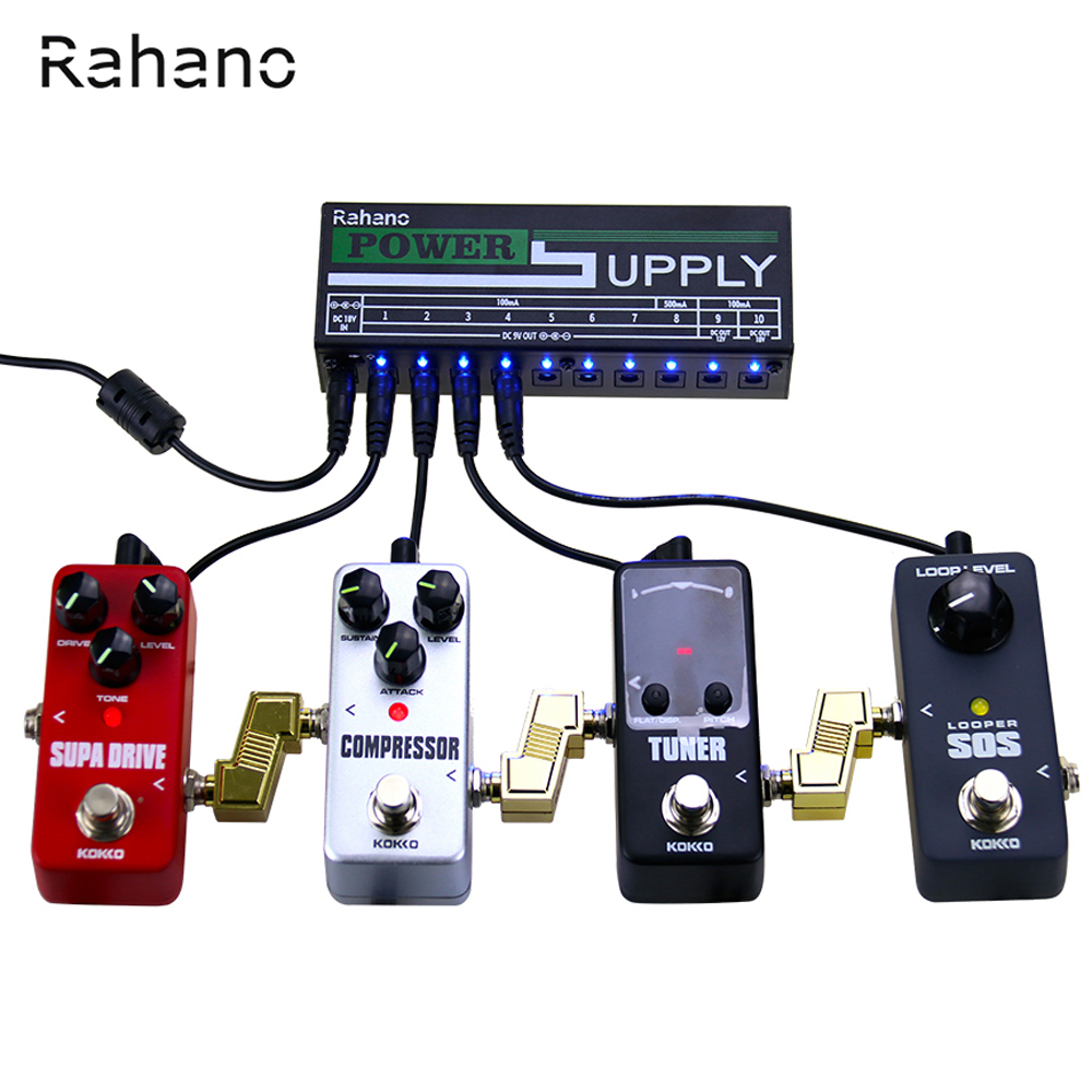 Rahano Guitar Pedal Power Supply 10 Isolated Output ( 9V/12V/18V ) with Short Circuit and Built-In Bright Blue LED Lights<br>
