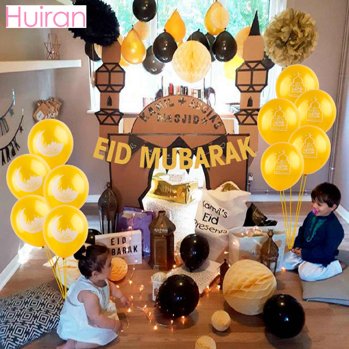 Huiran Festival Party Decorations For Home Paper Banner And Balloons Birthday Decor Happy Ramadan