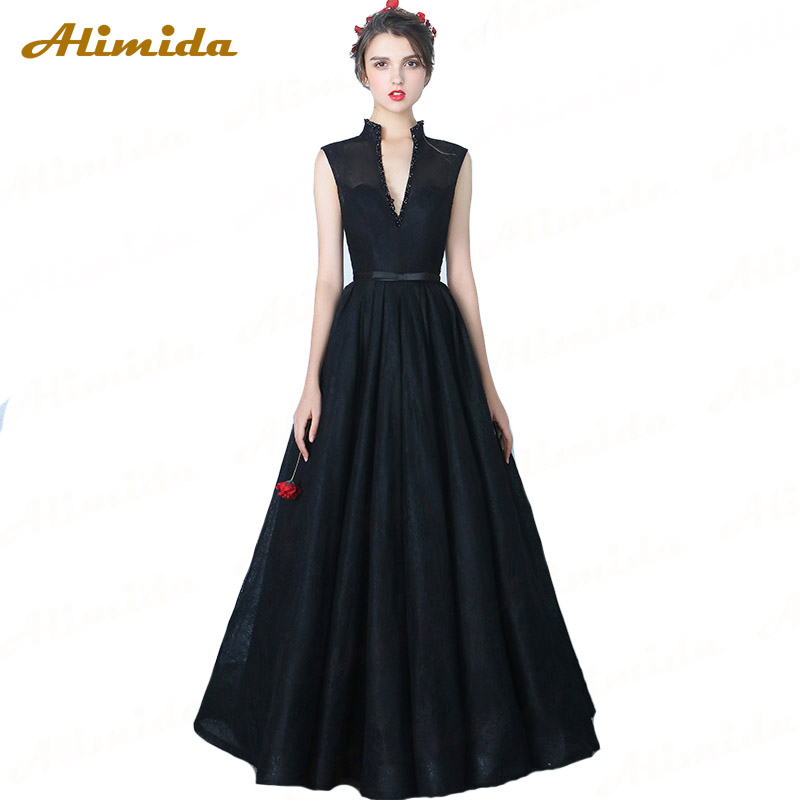 ALIMIDA 2017 New Fashion Elegant Evening Dress A-Line Prom Party Dress Sexy Deep V-Neck Special Occasion Dresses robe de soiree
