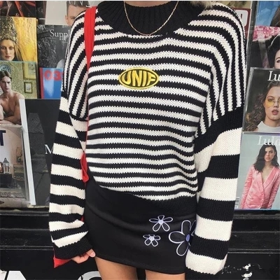 2019 New retro old school letters embroidery black and white striped pullover loose and short knitted sweater women and men