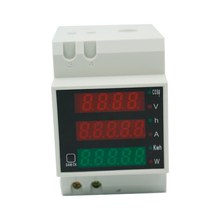 D52-2047 Din Rail LED Active Power Factor Energy meter Voltage Volt Current Meter Voltmeter Ammeter AC 80-300V 0-100.0A 40%off(China)