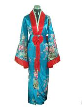 High Quality Traditional Women's Silk Satin Kimono Japanese Vintage Yukata With Obi Novelty Stage Clothing One size JK035(China)
