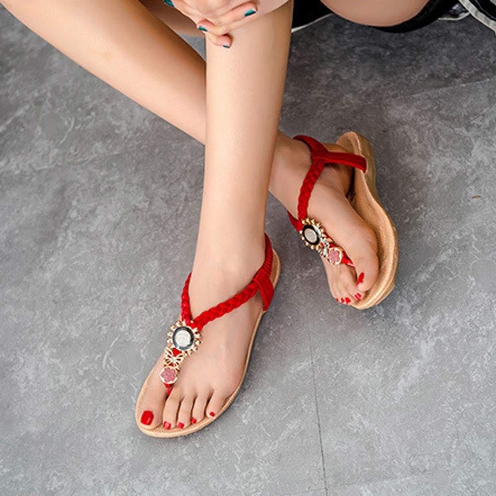 Fashion Women Sandals Summer String Bead Shoes Women Sandals Summer Flip-Flops Sandale Femme Black Sandals<br><br>Aliexpress