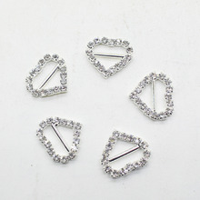 10pcs/lot 17mm Heart   Rhinestone Buckle Slider for Wedding Decorative Invitation Letter Accessorieas fitting DIY Crysta