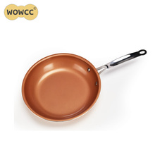10 Inches Copper Frying Pans Skillets Non Stick Western Pan Without Pot Cover High Quality Aluminum Frying Pan Cooking Tools
